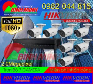Lắp Đặt Trọn Bộ 7 Mắt Camera Hikvision 2.0M. Full HD 1080P
