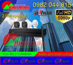 Lắp Đặt Trọn Bộ 2 Mắt Camera Dahua 2.0M . Full HD 1080P