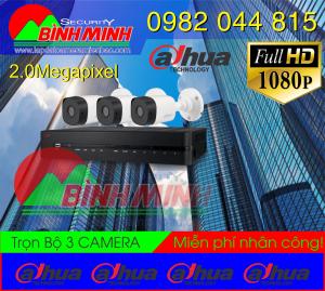 Lắp Đặt Trọn Bộ 3 Mắt Camera Dahua 2.0M . Full HD 1080P