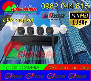 Lắp Đặt Trọn Bộ 4 Mắt Camera Dahua 2.0M . Full HD 1080P