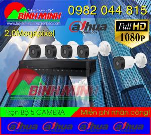 Lắp Đặt Trọn Bộ 5 Mắt Camera Dahua 2.0M . Full HD 1080P