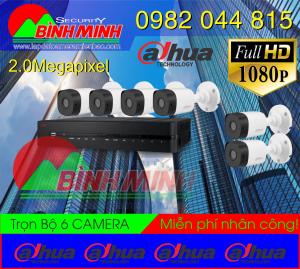 Lắp Đặt Trọn Bộ 6 Mắt Camera Dahua 2.0M. Full HD 1080P