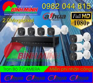 Lắp Đặt Trọn Bộ 7 Mắt Camera Dahua 2.0M. Full HD 1080P