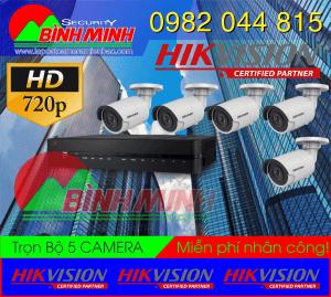 Lắp Đặt Trọn Bộ 5 Mắt Camera Chuẩn HD HikVision