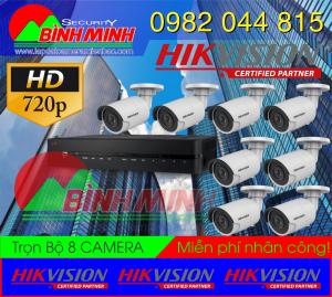 Bộ 8 Mắt Camera Chuẩn HD Chính hãng Hikvision