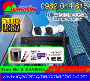 Lắp Đặt Trọn Bộ 2 Mắt Camera KBVision 2.0M. Full HD 1080P