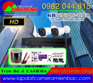 Lắp Đặt Trọn Bộ 2 Mắt Camera KBVision Chuẩn HD.720P. Miễn phí nhân công lắp đặt
