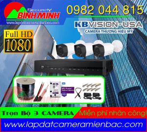 Lắp Đặt Trọn Bộ 3 Mắt Camera KBVision 2.0M. Full HD 1080P