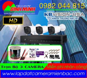 Lắp Đặt Trọn Bộ 3 Mắt Camera KBVision Chuẩn HD.720P. Miễn phí nhân công lắp đặt