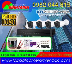Lắp Đặt Trọn Bộ 4 Mắt Camera KBVision 2.0M. Full HD 1080P