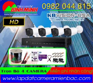 Lắp Đặt Trọn Bộ 4 Mắt Camera KBVision Chuẩn HD.720P. Miễn phí nhân công lắp đặt !