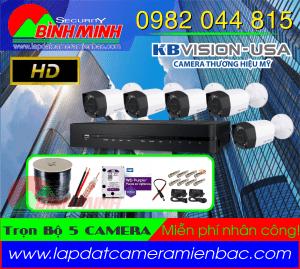 Lắp Đặt Trọn Bộ 5 Mắt Camera KBVision Chuẩn HD.720P