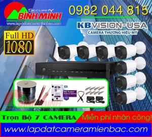 Lắp Đặt Trọn Bộ 7 Mắt Camera KBvision 2.0M. Full HD 1080P. Khuyến mại Giảm giá!