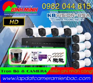 Lắp Đặt Trọn Bộ 8 Mắt Camera KBVision Chuẩn HD 720P. Giá đã bao gồm trọn bộ !