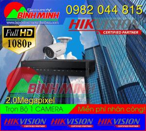 Lắp Đặt Trọn Bộ 1 Mắt Camera Hikvision 2.0M. Full HD 1080P