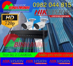 Bộ 2 mắt Camera HD-TVI hình trụ, Dome hồng ngoại 20m giá Ưu Đãi