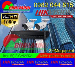Lắp Đặt Trọn Bộ 2 Mắt Camera Hikvision 2.0M. Full HD 1080P