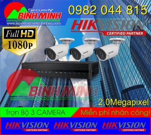 Lắp Đặt Trọn Bộ 3 Mắt Camera Hikvision 2.0M. Full HD 1080P