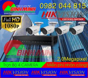Lắp Đặt Trọn Bộ 4 Mắt Camera Hikvision 2.0M. Full HD 1080P