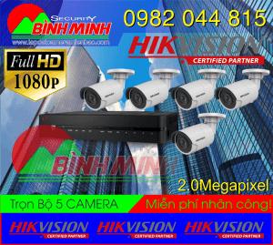 Lắp Đặt Trọn Bộ 5 Mắt Camera Hikvision 2.0M. Full HD 1080P