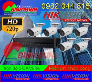 Lắp Đặt Trọn Bộ 6 Mắt Camera Chuẩn HD Hikvision 6 mắt Camera HD-TVI hình trụ, Dome hồng ngoại 20m