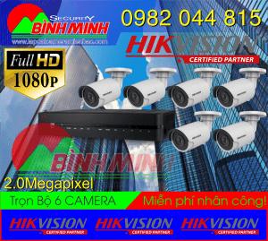 Lắp Đặt Trọn Bộ 6 Mắt Camera Hikvision 2.0M. Full HD 1080P