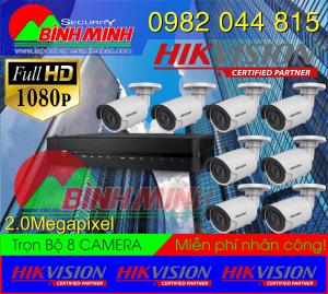 Lắp Đặt Trọn Bộ 8 Mắt Camera Hikvision 2.0M. Full HD 1080P
