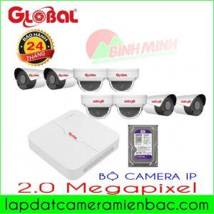 Combo Bộ 8 Mắt Camera IP 2.0M Global giá Ưu Đãi !Bộ 8 Mắt Camera IP H265 Cao Cấp 2.0M Global