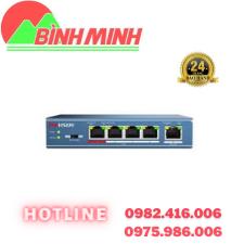 Thông số kĩ thuật 4-port 10/100Mbps PoE Switch HIKVISION DS-3E0105P-E/M(B)  - Switch mạng Layer 2, 4 cổng PoE 100M, 1 cổng uplink 10/100M. - Tự tương thích chuẩn 802.3af/at . - Tổng công suất PoE tối đa: 35W. - Truyền dẫn khoảng cách xa: Tối đa 250m ở chế độ mở rộng. - Chống sét: 6KV cho mỗi cổng. - Nguồn điện: 48VDC.    LIÊN HỆ TƯ VẤN MIỄN PHÍ VÀ ĐẶT HÀNG – Công Ty TNHH Công Nghệ số Bình Minh – Địa chỉ : 277 Lương Thế Vinh, Nam Từ Liêm, Hà Nội – Hotline : 0975.986.006 – 0982.416.006
